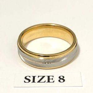 Men's / Women's Gold & Silver Tone Ring, Size 8